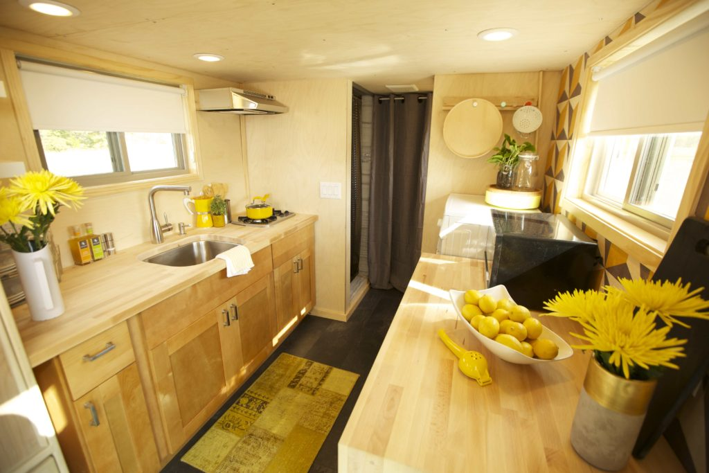 galley kitchen in tiny house