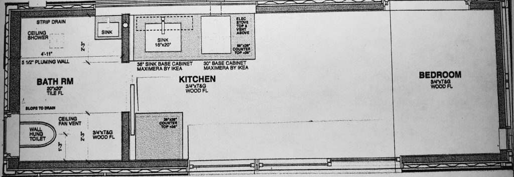 Model 1 tiny house plans floor plan